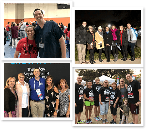 Collage of photos of team at community events